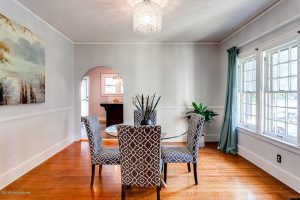 Louisville Kentucky Home Staging, Louisville Kentucky Interior Designer, Louisville Kentucky Renovation Designer, Lexington Road, Residential Home Staging, Gleaming Hardwood Flooring, Stained Trim, Dining Room