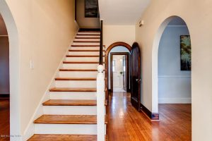 Louisville Kentucky Home Staging, Louisville Kentucky Interior Designer, Louisville Kentucky Renovation Designer, Lexington Road, Residential Home Staging, Gleaming Hardwood Flooring, Stained Trim, Foyer
