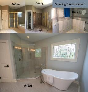 Louisville Kentucky Home Renovation, Master Bath Renovation, Louisville Kentucky Home Staging, Prospect Kentucky Home for Sale, Freestanding Tub, Bathroom Vanity, Bathroom Vanity Lighting, Shower Tile, Glass Shower Enclosure