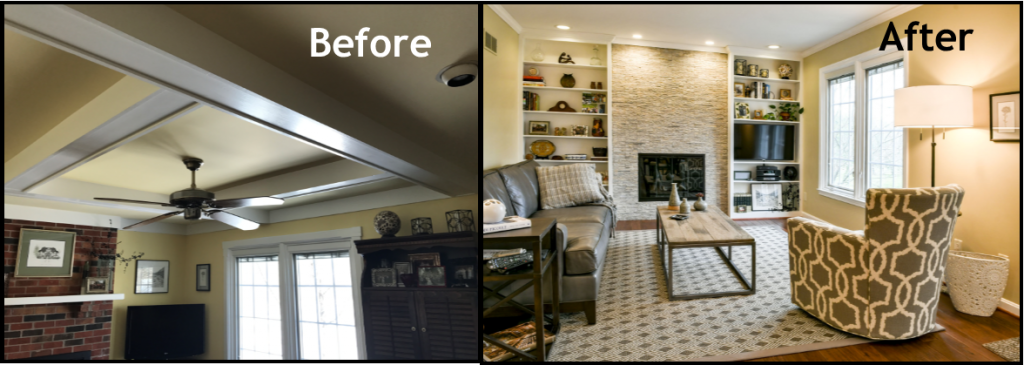 Louisville Kentucky Home Renovation, Great Room, Stacked Stone Fireplace, Electric Fireplace, Hand Scraped Hickory Floors, Great Room Renovation, Before and After