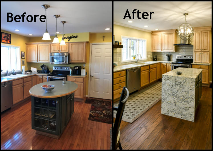 Louisville Kentucky Kitchen Renovation, Hand Scraped Hickory Floors, Before and After, Kitchen Island, Granite Counter Tops, Hood, Stainless Steel Appliances, Kitchen Island with Waterfall, Kitchen Island Lighting