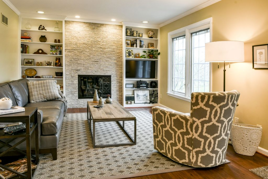 Louisville Kentucky Home Renovation, Hand Scraped Hickory Floor, Stacked Stone Fireplace, Accessories, Rustic, Area Rug, Built-in Shelves