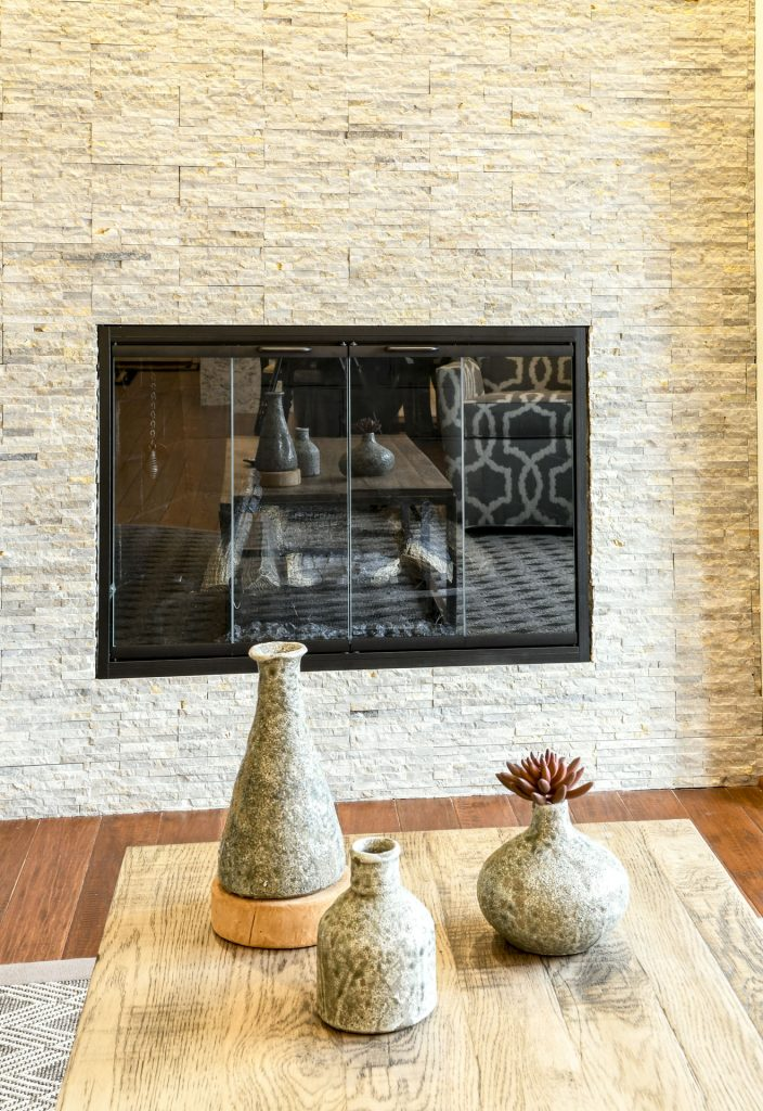 Louisville Kentucky Home Renovation, Stacked Stone Fireplace, Hand Scraped Hickory Floor, Rustic, Accessories