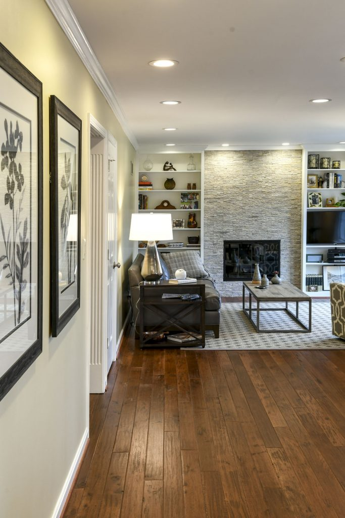 Louisville Kentucky Home Renovation, Stacked Stone Fireplace, Hand Scraped Hickory Floor, Great Room Renovation, Area Rug