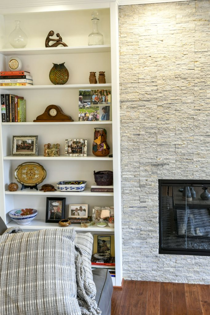Louisville Kentucky Home Renovation, Stacked Stone Fireplace, Hand Scraped Hickory Floor