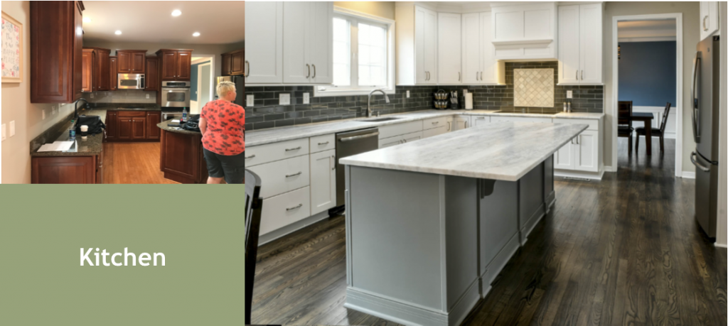 Living Spaces by Lyn, Louisville Kentucky Interior Design, Kim Falvey, Louisville Kentucky Renovation Design, Louisville Kentucky Home Staging, Kitchen Design, White Kitchen Cabinets, Marble Countertops, Kitchen Lighting