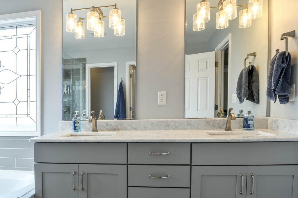 Living Spaces by Lyn, Louisville Kentucky Interior Design, Kim Falvey, Louisville Kentucky Renovation Design, Louisville Kentucky Home Staging, Gray Vanity, Marble Vanity Top, Vanity Lighting