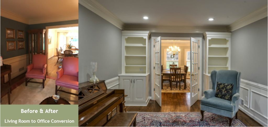 Louisville Kentucky Interior Design, Living Spaces By Lyn, Before & After, Hardwood Flooring, Area Rug, Custom Built In Shelves, Custom Built In Cabinets, French Doors, Home Office, Kim Falvey, Gray Paint, White Trim, Crown Molding, Wainscoting