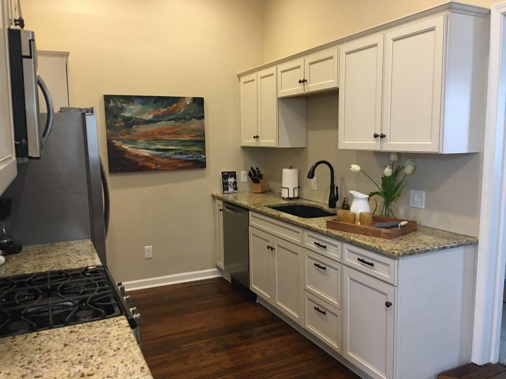 Living Spaces By Lyn, Louisville Kentucky Home Renovation, Air B&B, Kitchen Renovation, Hardwood Flooring, White Cabinets, Artwork, Granite Counter tops, Debi Marcum, Kim Falvey, Accessories