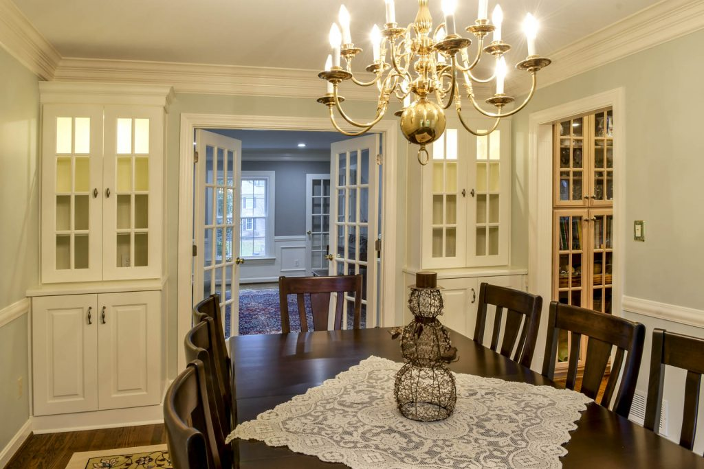Louisville Kentucky Interior Design, Living Spaces By Lyn, Kitchen Design, Kim Falvey, Dining Room, Custom Built In China Cabinets, Dining Room Furniture, French Doors, Hardwood Flooring, China Cabinet Lighting
