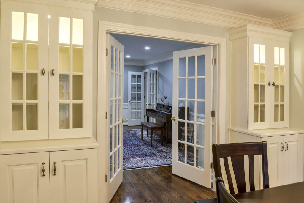 Louisville Kentucky Interior Design, Living Spaces By Lyn, Kitchen Design, Kim Falvey, Dining Room, Custom Built In China Cabinets, Dining Room Furniture, French Doors, Hardwood Flooring
