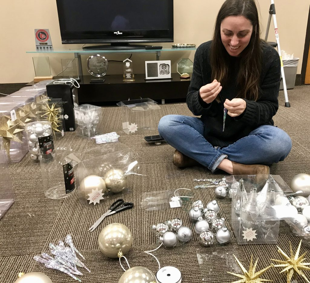 stylish holiday decor, silver and gold ornaments, Star Auerbach
